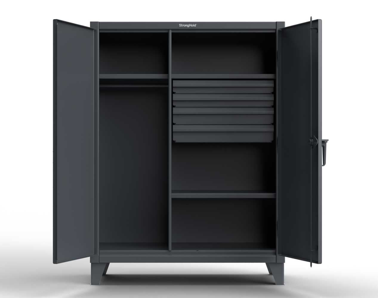 Extra Heavy Duty 12 GA Wardrobe Cabinet with 4 Drawers, 4 Shelves – 36 In. W x 24 In. D x 78 In. H