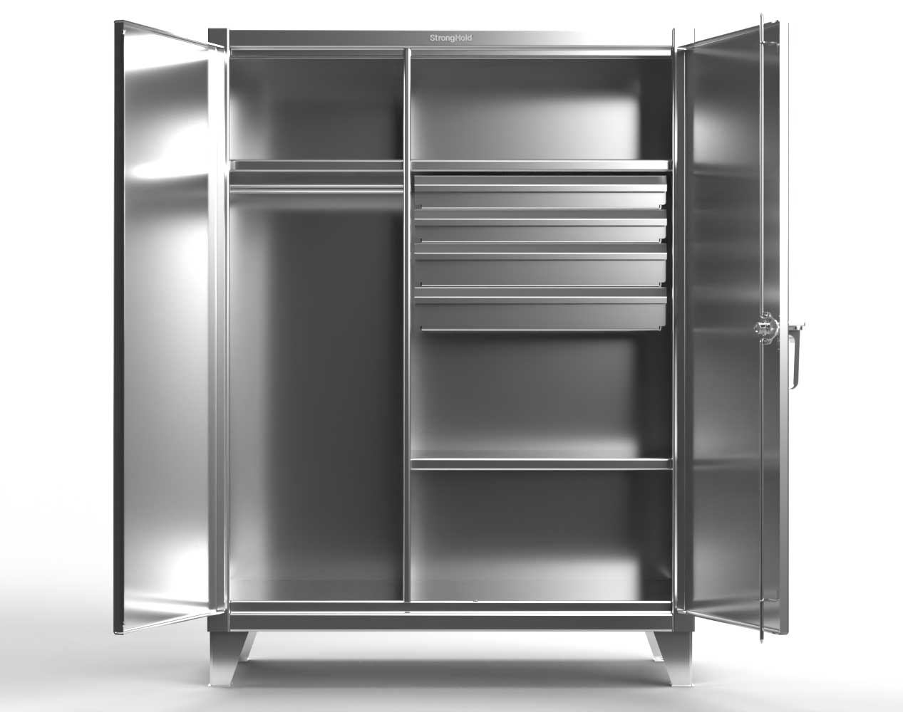 Extreme Duty 12 GA Stainless Steel Uniform Cabinet with 4 Drawers, 3 Shelves – 48 In. W x 24 In. D x 66 In. H