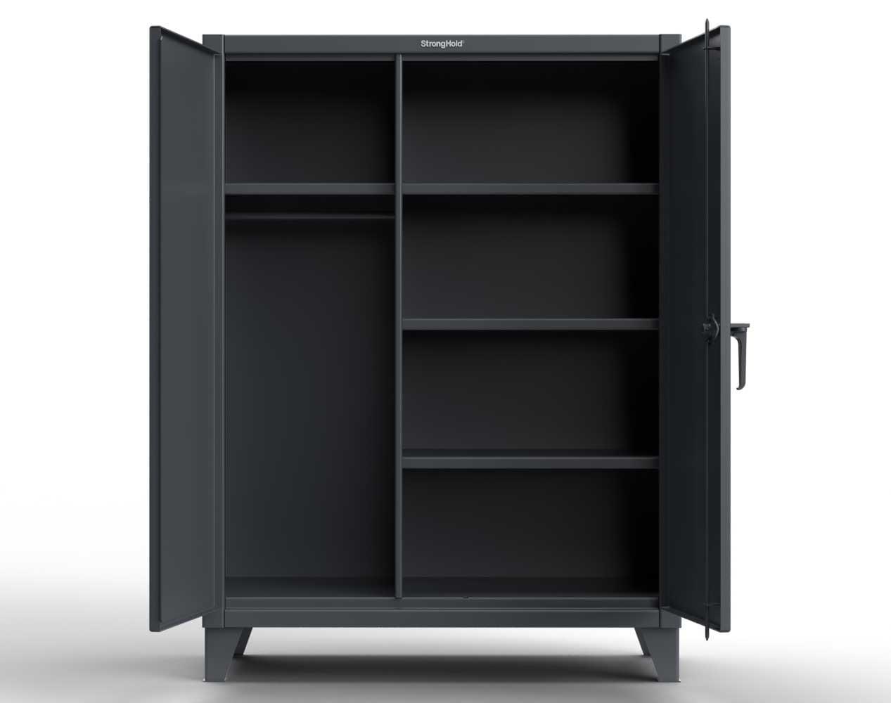 Extra Heavy Duty 12 GA Wardrobe Cabinet with 4 Shelves – 60 In. W x 24 In. D x 66 In. H