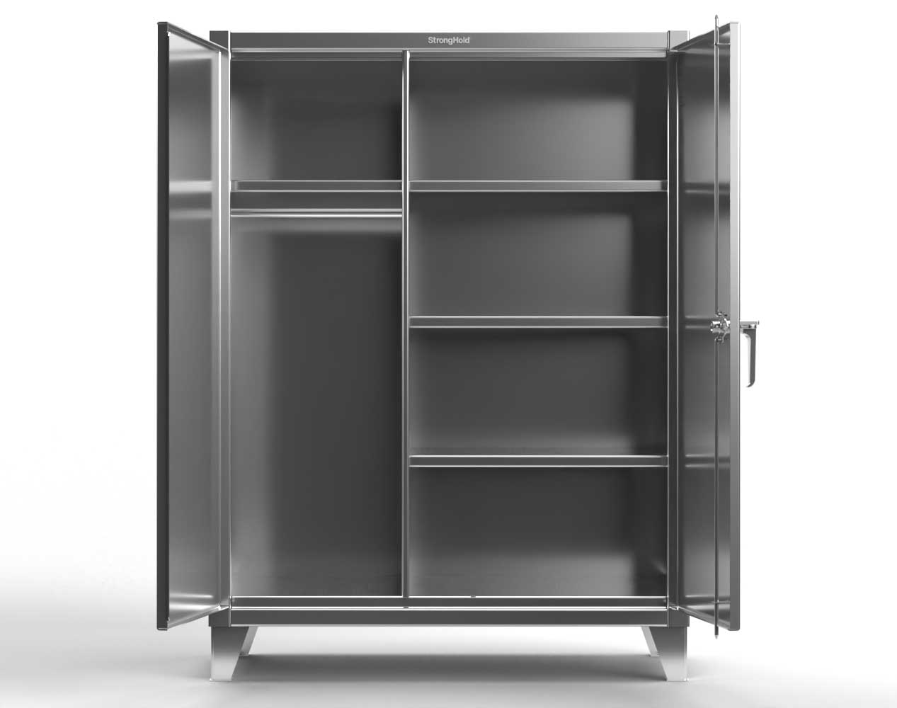 Extra Heavy Duty 12 GA Stainless Steel Wardrobe Cabinet with 4 Shelves – 60 In. W x 24 In. D x 66 In. H
