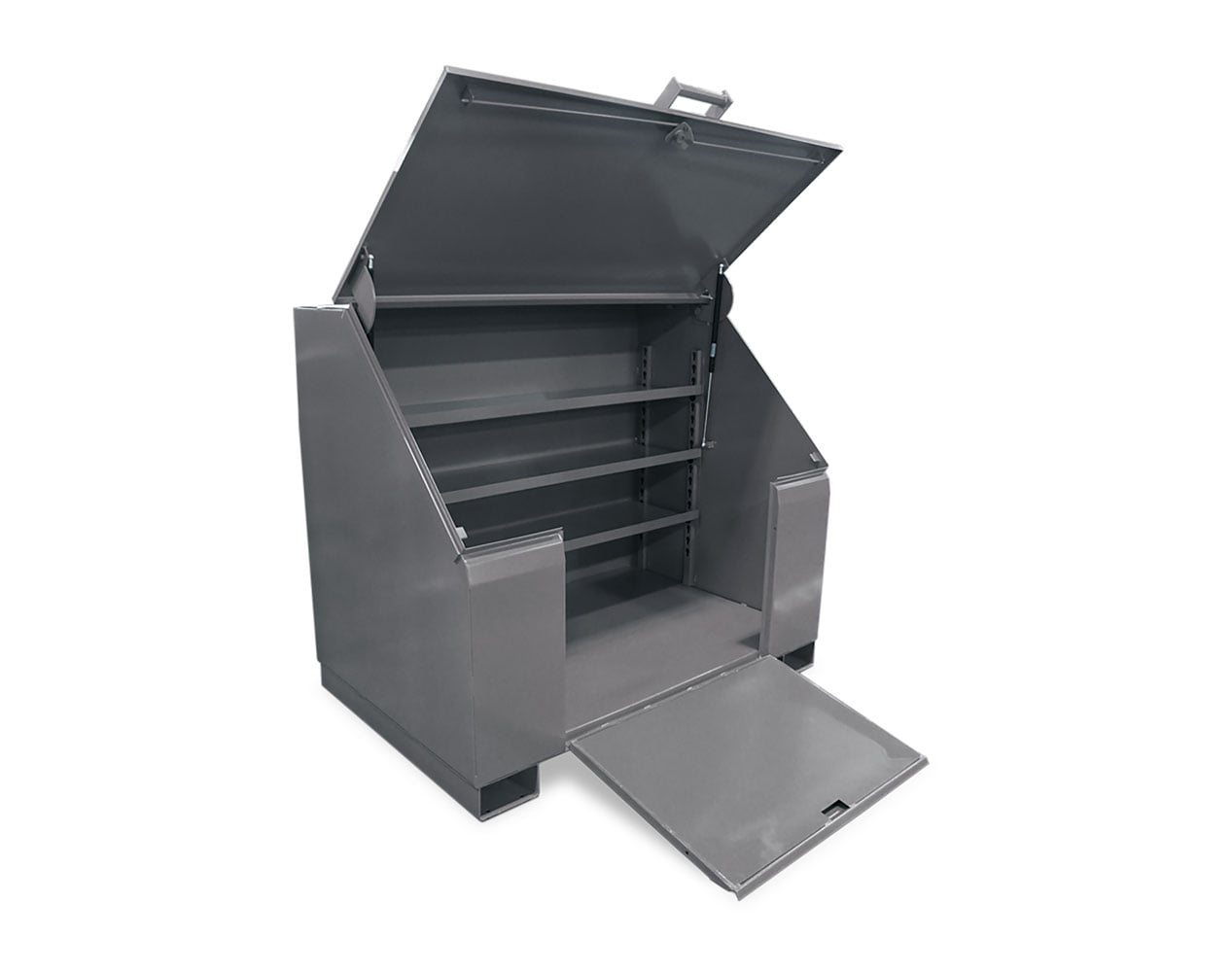 Extra Heavy Duty 12 GA Job Site Box with Lift-Up Lid, Ramp, 3 Shelves – 60 In. W x 36 In. D x 48 In. H