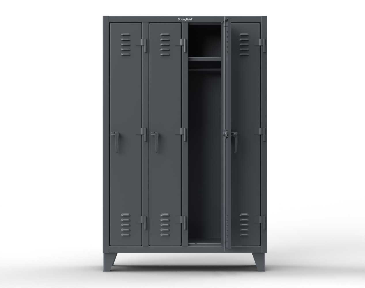 Extra Heavy Duty 12 GA Single-Tier Locker with 6 Compartment, Louvered Doors, Wardrobe Rod – 74 in. W x 18in. D x 78 in. H