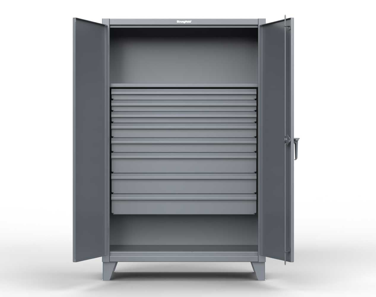 Extra Heavy Duty 12 GA Cabinet with 8 Drawers, 1 Shelf – 36 In. W x 24 In. D x 78 In. H