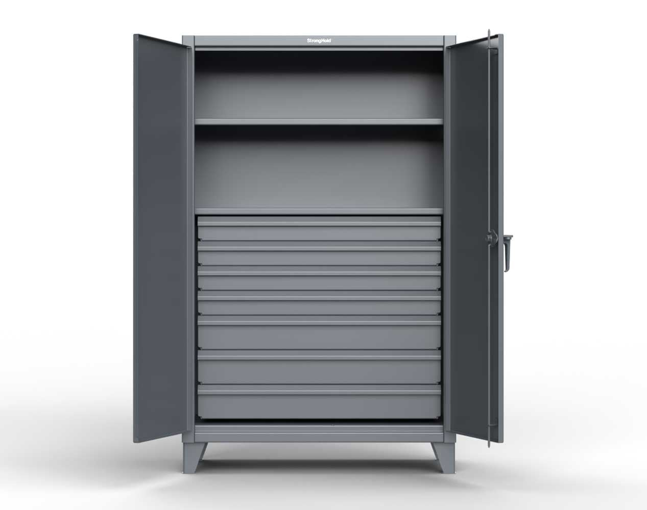 Extra Heavy Duty 12 GA Cabinet with 7 Drawers, 2 Shelves- 36 In. W x 24 In. D x 78 In. H