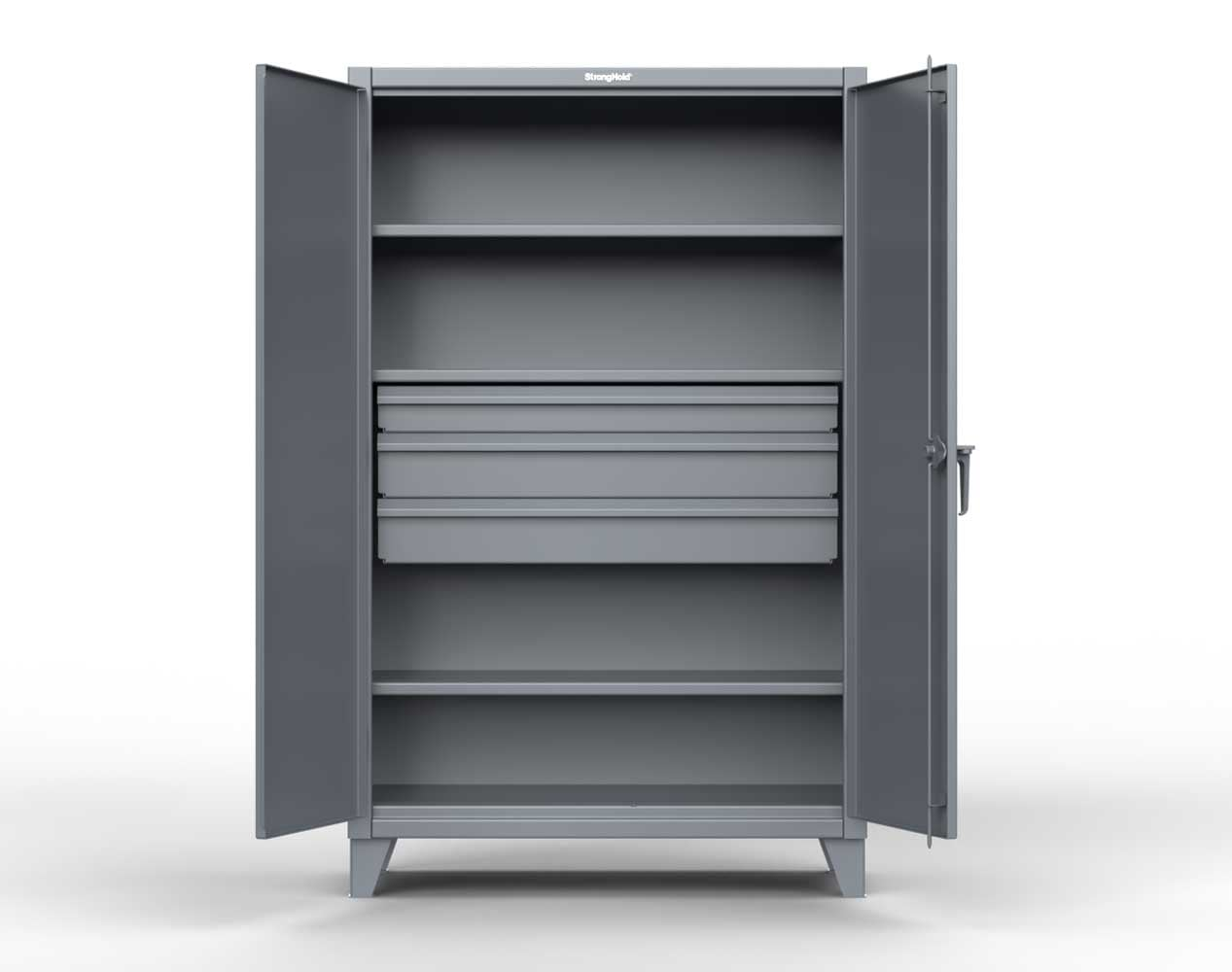 Extra Heavy Duty 12 GA Cabinet with 3 Drawers, 3 Shelves – 36 In. W x 24 In. D x 78 In. H