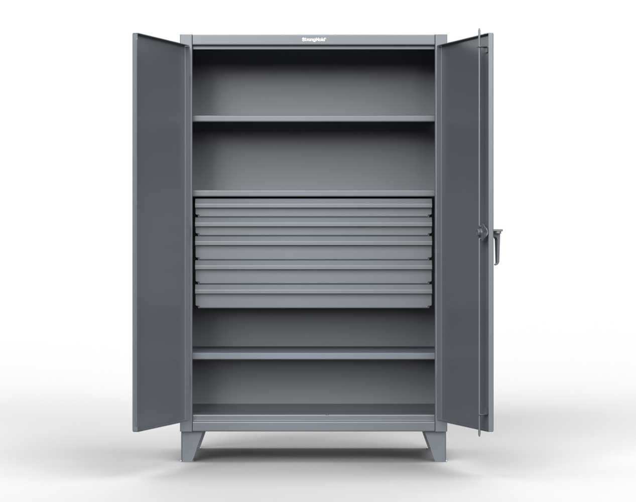Extra Heavy Duty 12 GA Cabinet with 5 Drawers, 3 Shelves – 36 In. W x 24 In. D x 78 In. H