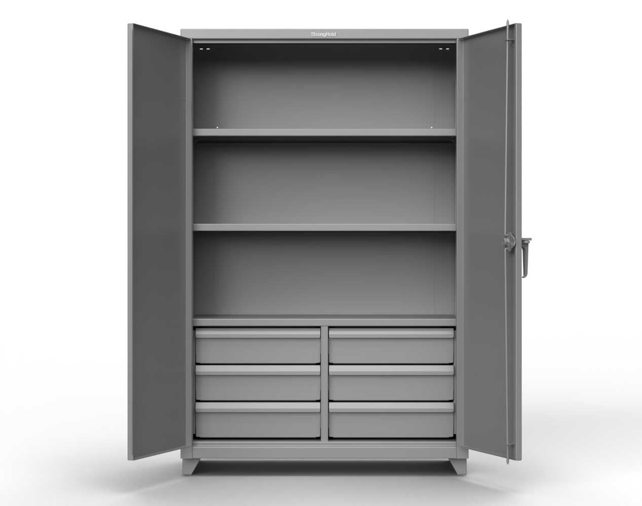 Extra Heavy Duty 14 GA Cabinet with 6 Half-Width Drawers, 3 Shelves – 48 In. W x 24 In. D x 75 In. H