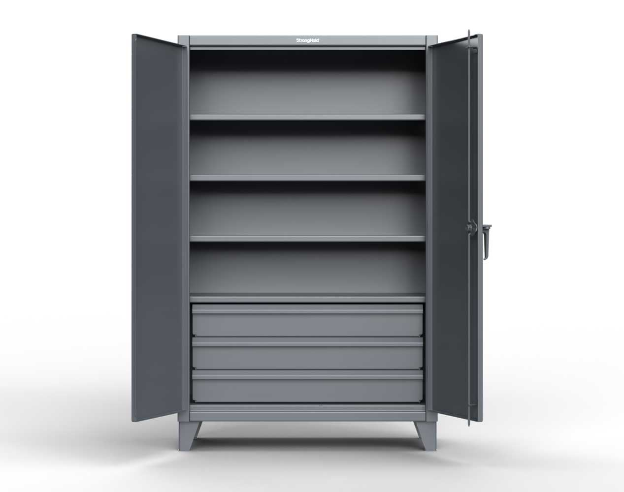 Extra Heavy Duty 12 GA Cabinet with 3 Drawers, 4 Shelves – 36 In. W x 24 In. D x 78 In. H
