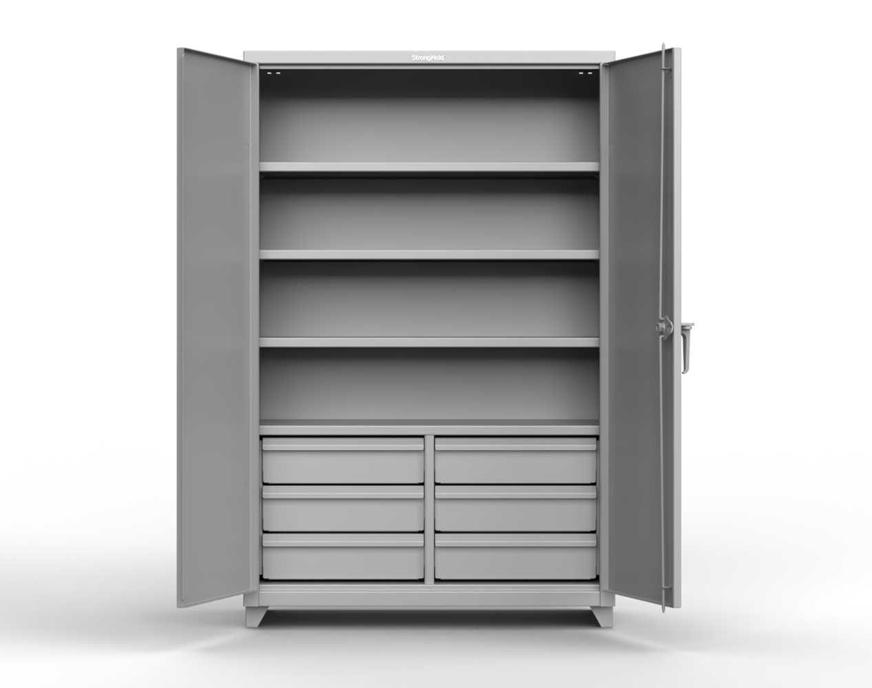 Heavy Duty 14 GA Cabinet with 6 Half-Width Drawers, 4 Shelves – 48 In. W x 24 In. D x 75 In. H