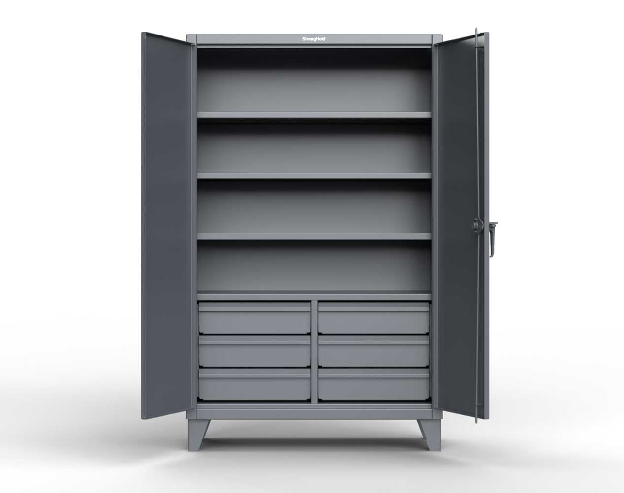 Extra Heavy Duty 12 GA Cabinet with 6 Half-Width Drawers, 4 Shelves – 48 In. W x 24 In. D x 78 In. H