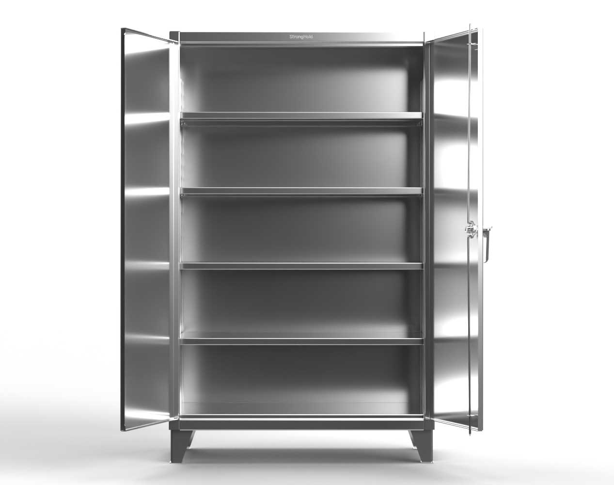 Extra Heavy Duty 12 GA Stainless Steel Cabinet with 4 Shelves – 48 In. W x 24 In. D x 78 In. H