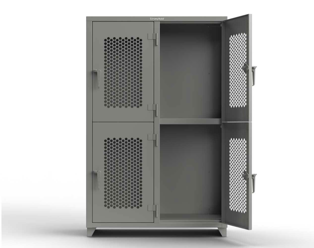Extra Heavy Duty 14 GA Double-Tier Ventilated Locker, 4 Compartments – 48 in. W x 24 in. D x 75 in. H