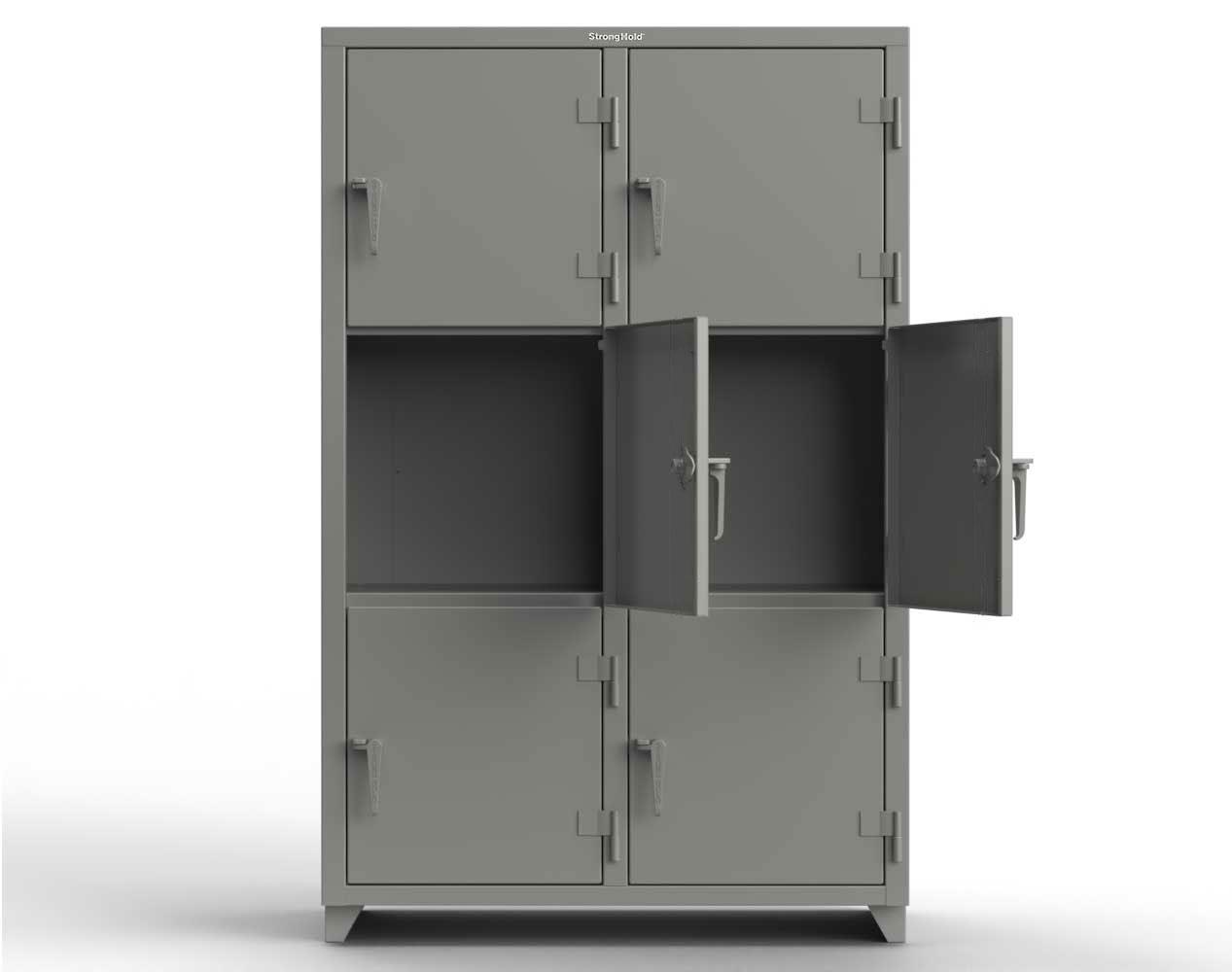 Extra Heavy Duty 14 GA Triple-Tier Locker, 6 Compartments – 48 in. W x 24 in. D x 75 in. H