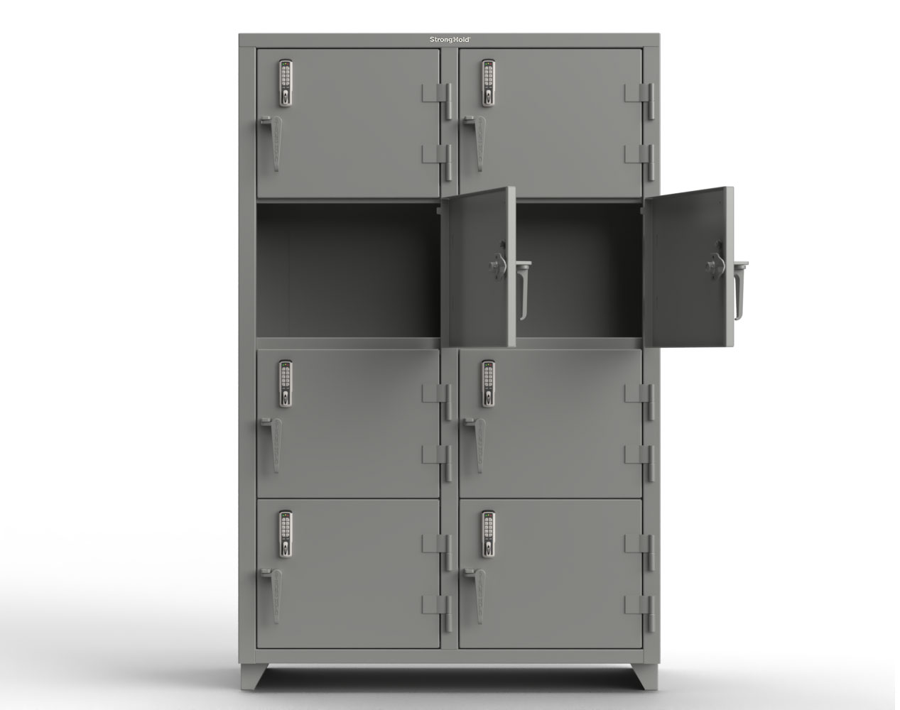 Extra Heavy Duty 14 GA 4-Tier Locker with Keyless Entry Lock, 8 Compartments – 48 in. W x 24 in. D x 75 in. H