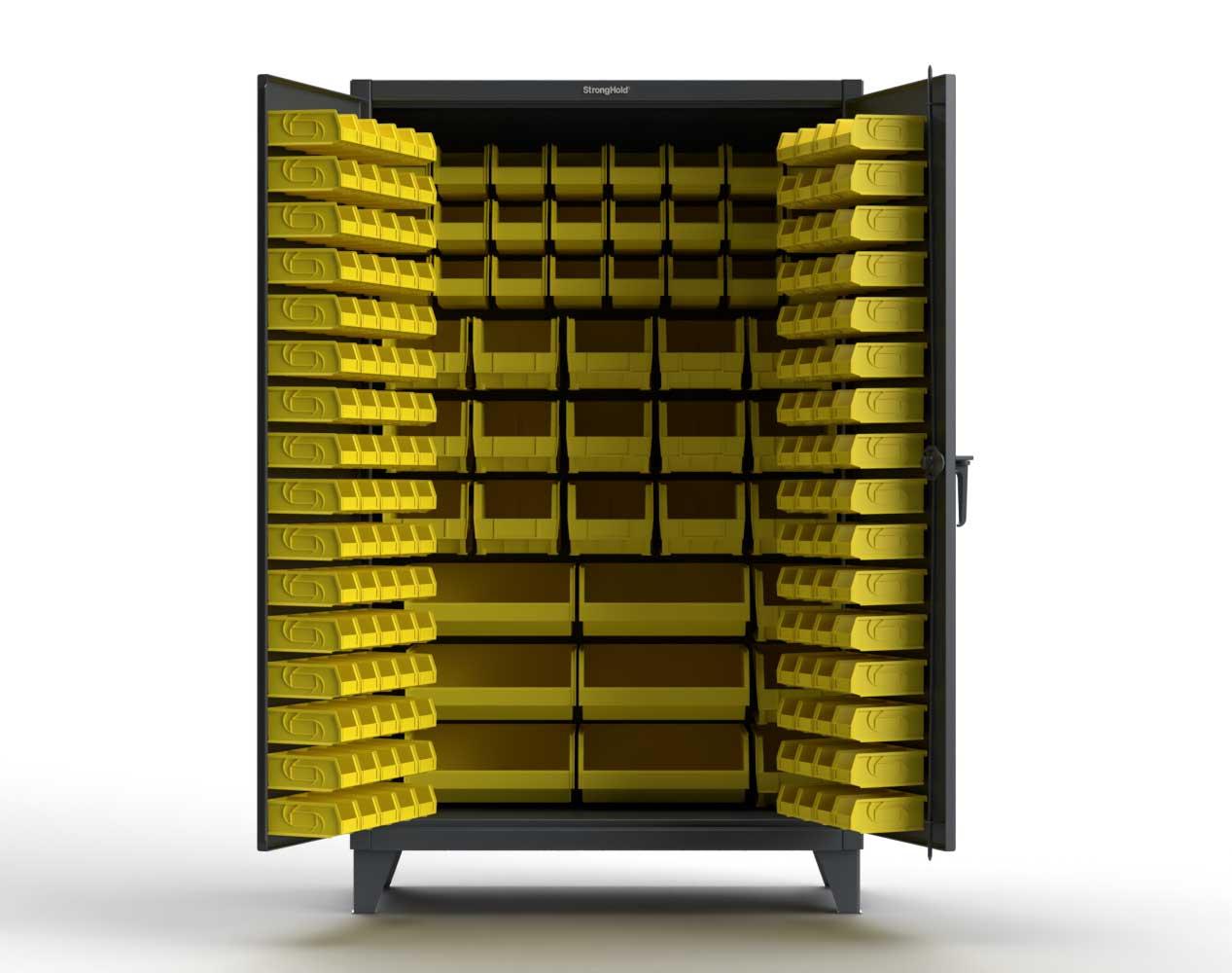 Extra Heavy Duty 12 GA  Industrial Cabinet with Multiple Sized Bins – 60 In. W x 24 In. D x 78 In. H