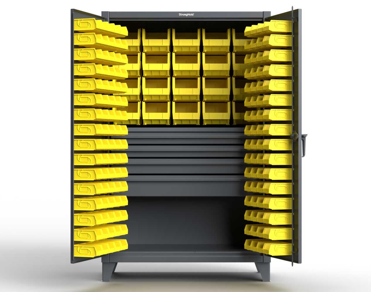 Extra Heavy Duty 12 GA Bin Cabinet with Multiple Sized Bins, 4 Drawers, 1 Shelf – 48 In. W x 24 In. D x 78 In. H