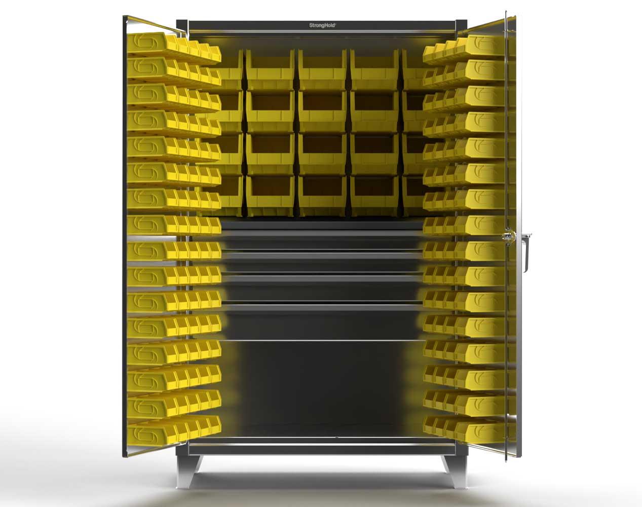 Extra Heavy Duty 12 GA Stainless Steel Bin Cabinet with 4 Drawers, 1 Shelf – 36 In. W x 24 In. D x 78 In. H
