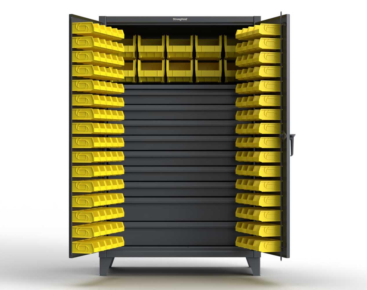 Extra Heavy Duty 12 GA Bin Cabinet with Multiple Sized Bins, 9 Drawers, 1 Shelf – 48 In. W x 24 In. D x 78 In. H
