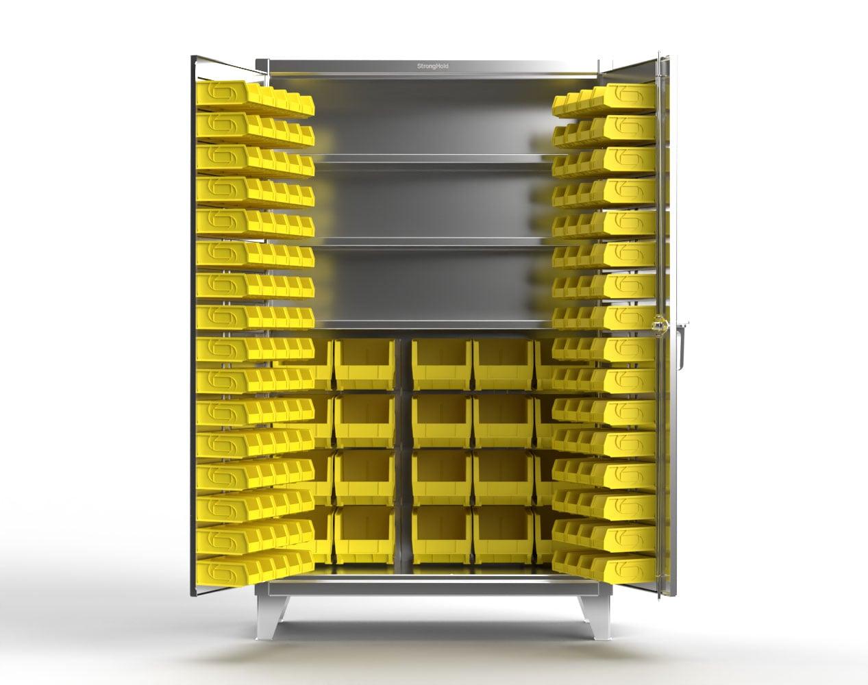 Extra Heavy Duty 12 GA Stainless Steel Bin Cabinet with Multiple Bin Sizes, 3 Shelves – 48 In. W x 24 In. D x 78 In. H