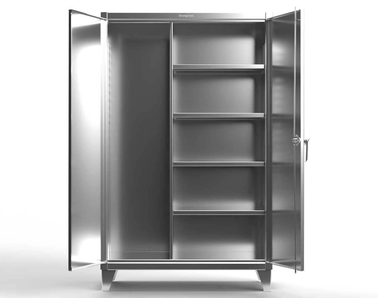 Extra Heavy Duty 12 GA Stainless Steel Janitorial Cabinet with 4 Shelves – 60 In. W x 24 In. D x 78 In. H