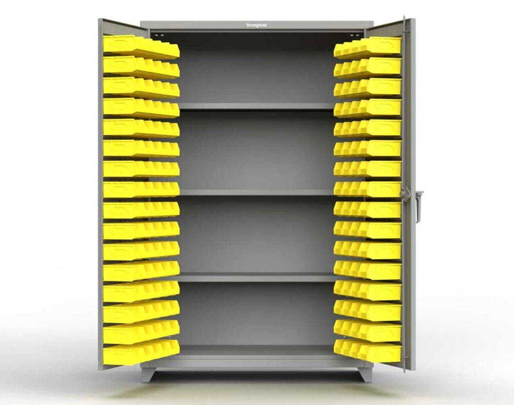14 GA Industrial Bin Cabinet with 3 Shelves