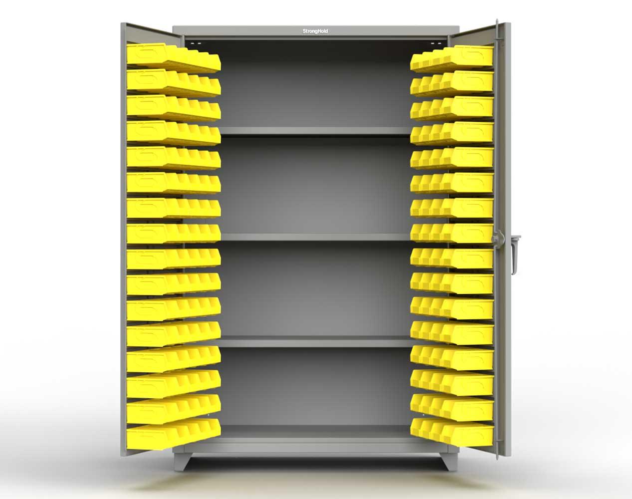 Heavy Duty 14 GA Bin Cabinet with 3 Shelves – 48 In. W x 24 In. D x 75 In. H