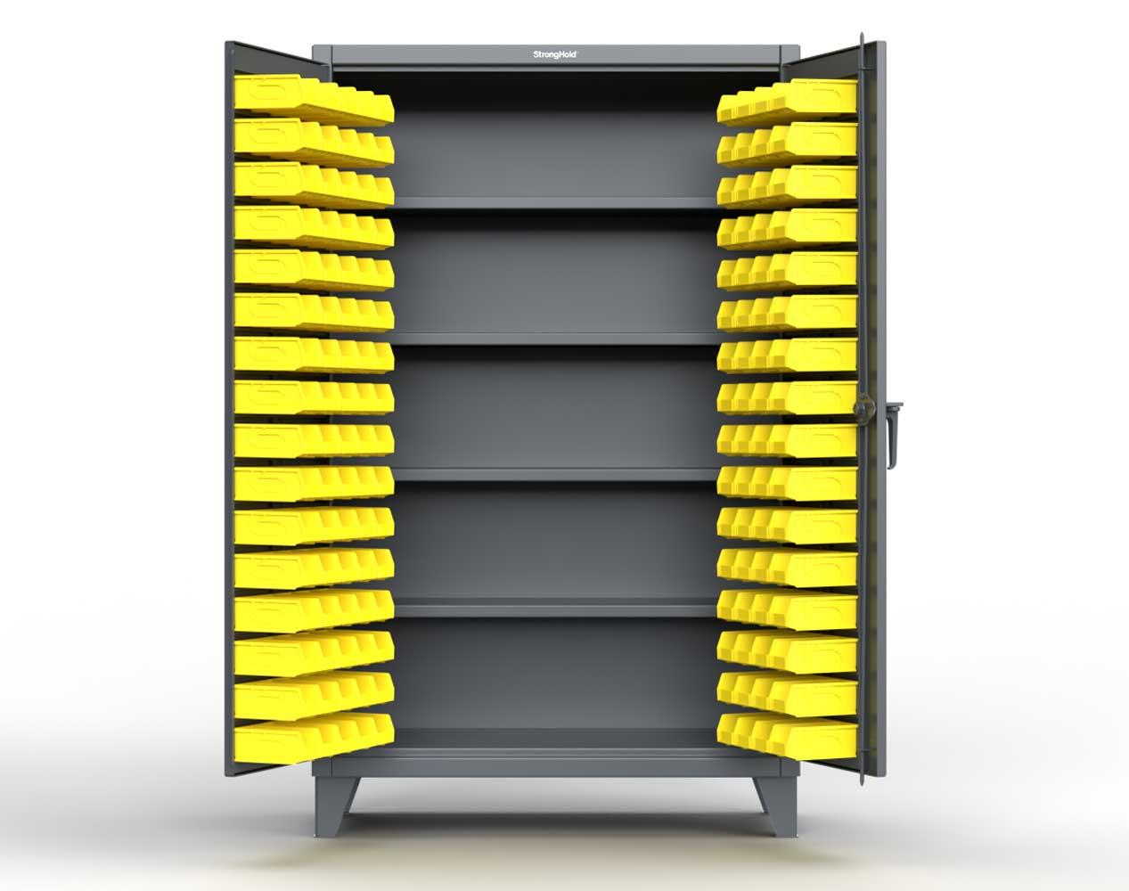 Extra Heavy Duty 12 GA Bin Cabinet with 4 Shelves – 48 In. W x 24 In. D x 78 In. H
