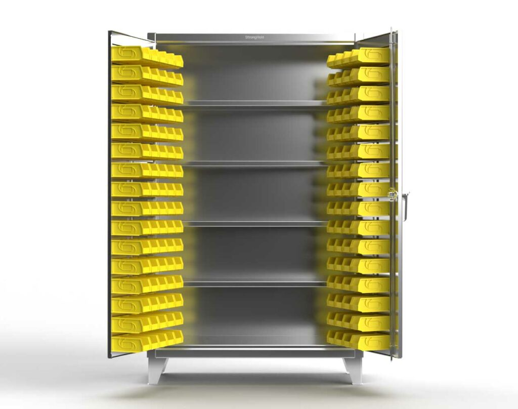 12 GA Stainless Steel Bin Cabinet with Shelves