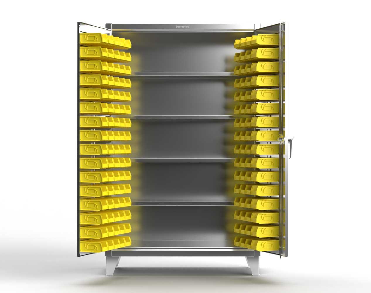 Extra Heavy Duty 12 GA Stainless Steel Bin Cabinet with Multiple Bin Sizes, 4 Shelves – 48 In. W x 24 In. D x 78 In. H
