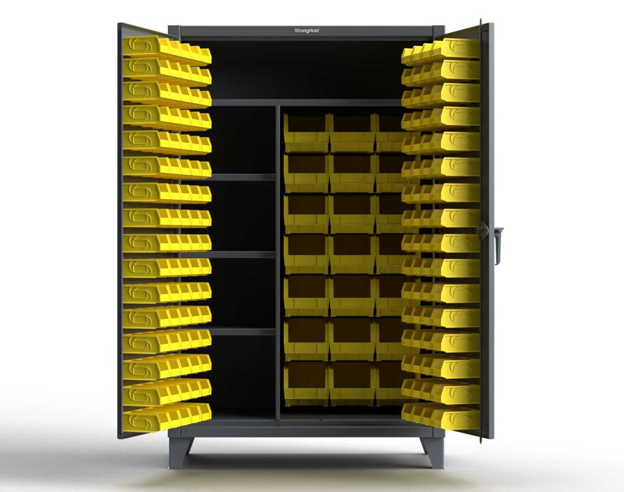 Extra Heavy Duty 12 GA Bin Cabinet with Multiple Sized Bins, 3 Half-Width Shelves, 1 Full-Width Shelf – 48 In. W x 24 In. D x 78 In. H