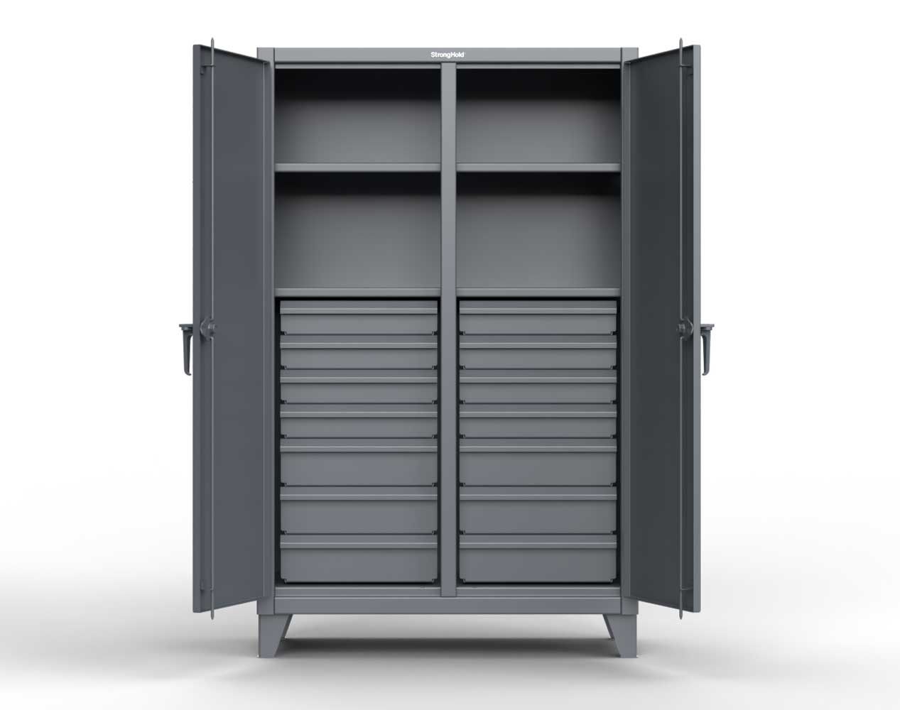 Extreme Duty 12 GA Double Shift Cabinet with 14 Drawers, 4 Shelves – 60 In. W x 24 In. D x 78 In. H