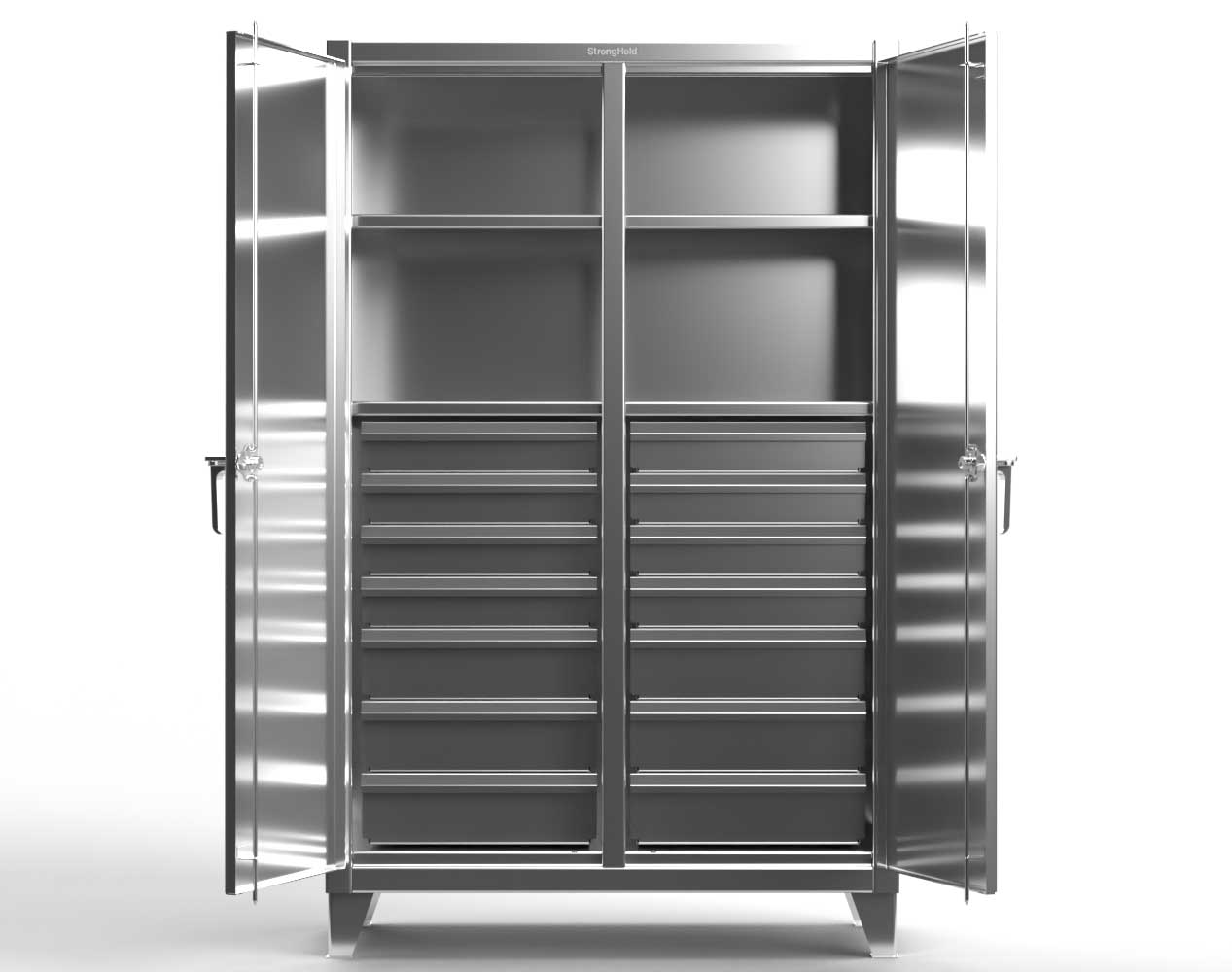 Extreme Duty 12 GA Stainless Steel Double Shift Cabinet with 14 Drawers, 4 Shelves – 72 In. W x 24 In. D x 78 In. H