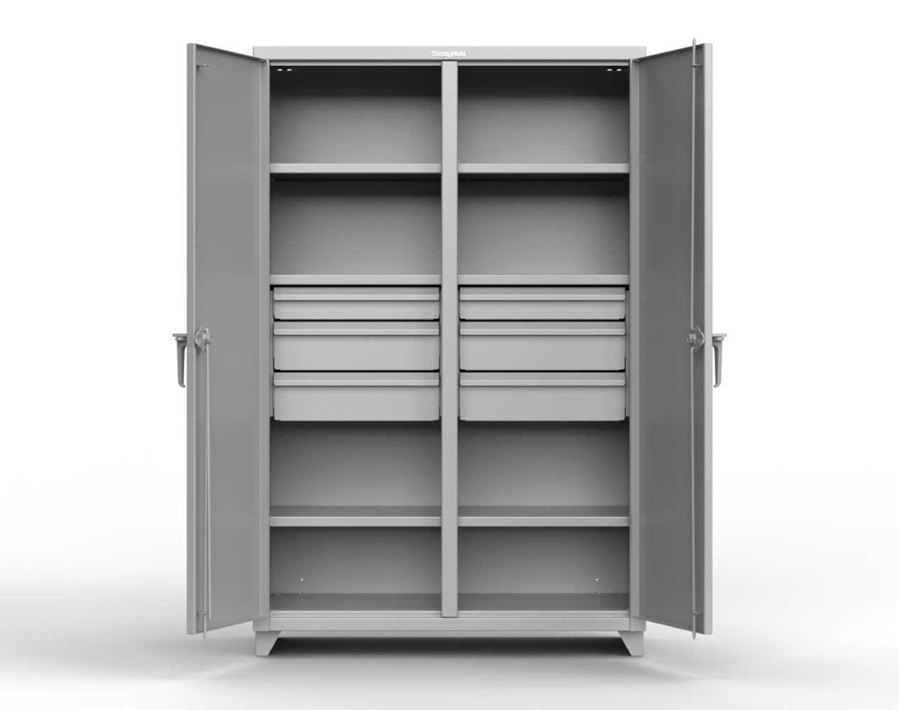 Extra Heavy Duty 12 GA Double Shift Cabinet with 10 Drawers, 6 Shelves – 72 In. W x 24 In. D x 78 In. H