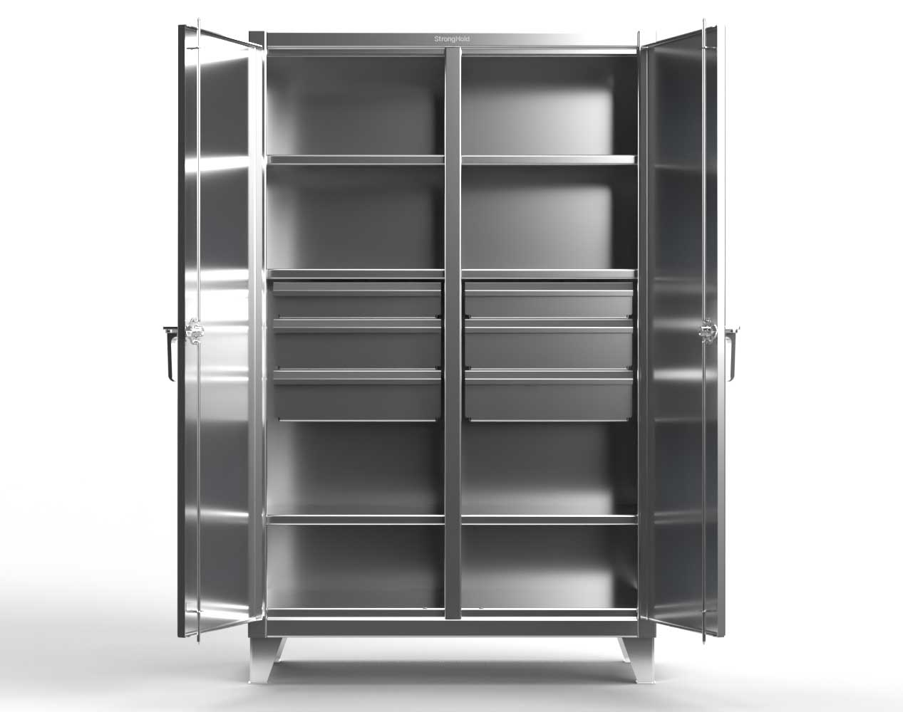Extra Heavy Duty 12 GA Stainless Steel Double Shift Cabinet with 10 Drawers, 6 Shelves – 60 In. W x 24 In. D x 78 In. H