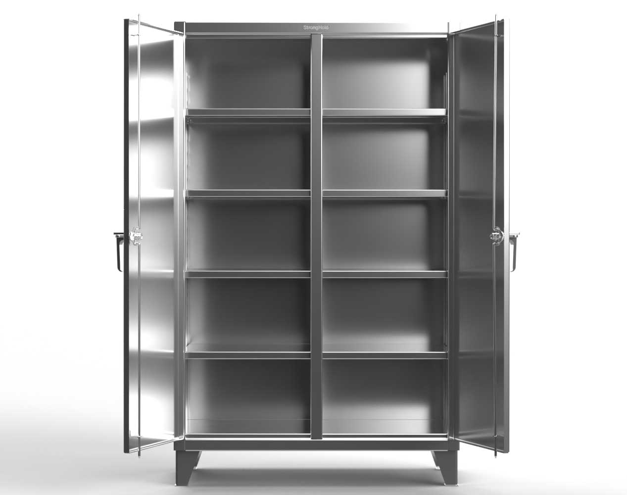 Extra Heavy Duty 12 GA Stainless Steel Double Shift Cabinet with 8 Shelves – 36 In. W x 24 In. D x 78 In. H