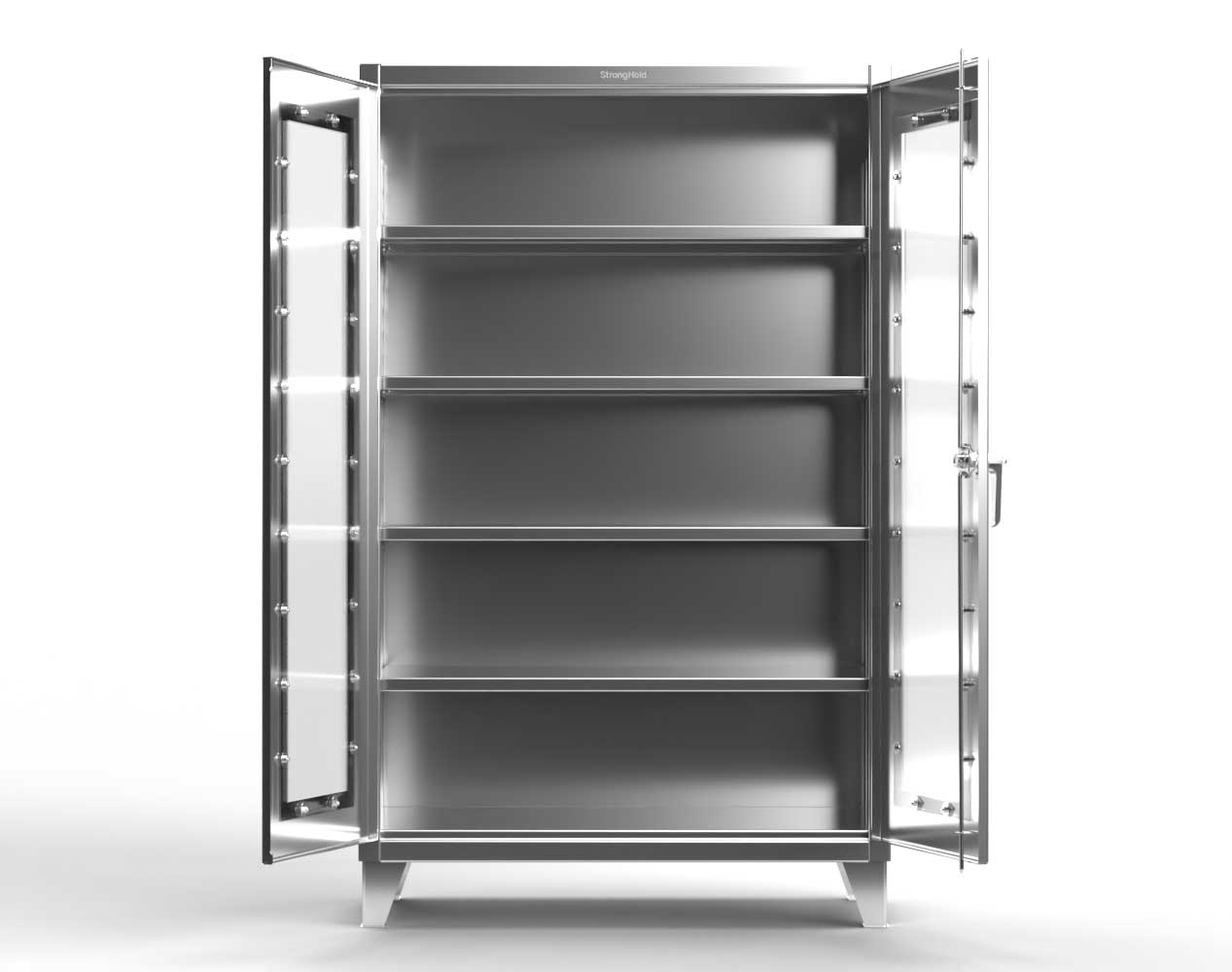 Extra Heavy Duty 12 GA Stainless Steel Clearview Cabinet with 3 Shelves – 48 In. W x 24 In. D x 66 In. H