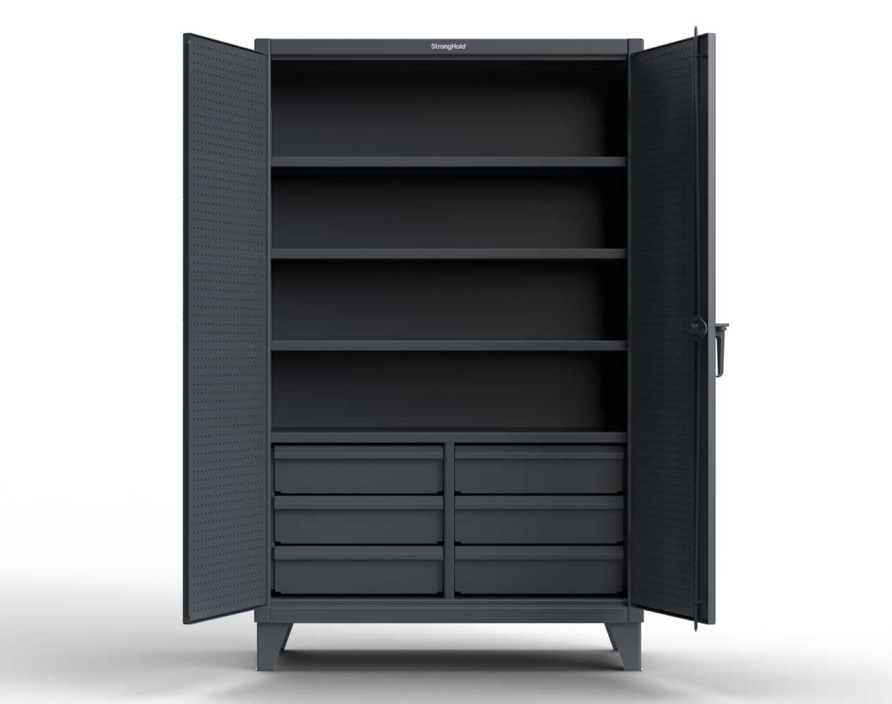 Extra Heavy Duty 12 GA Cabinet with 4 Slide-Out Shelves, 6 Half-Width Drawers with Dividers  – 48 In. W x 24 In. D x 78 In. H