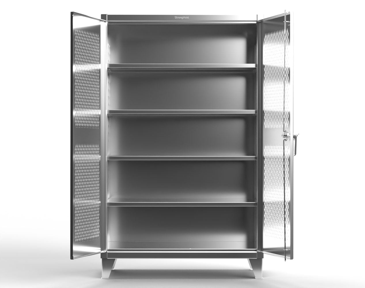 Extra Heavy Duty 12 GA Stainless Steel Cabinet with Ventilated Doors, 4 Shelves – 60 In. W x 24 In. D x 78 In. H