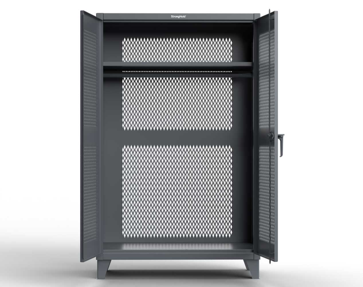 Extreme Duty 12 GA Fully-Ventilated Uniform Cabinet with Hanger Rod, 1 Shelf – 48 In. W x 24 In. D x 78 In. H