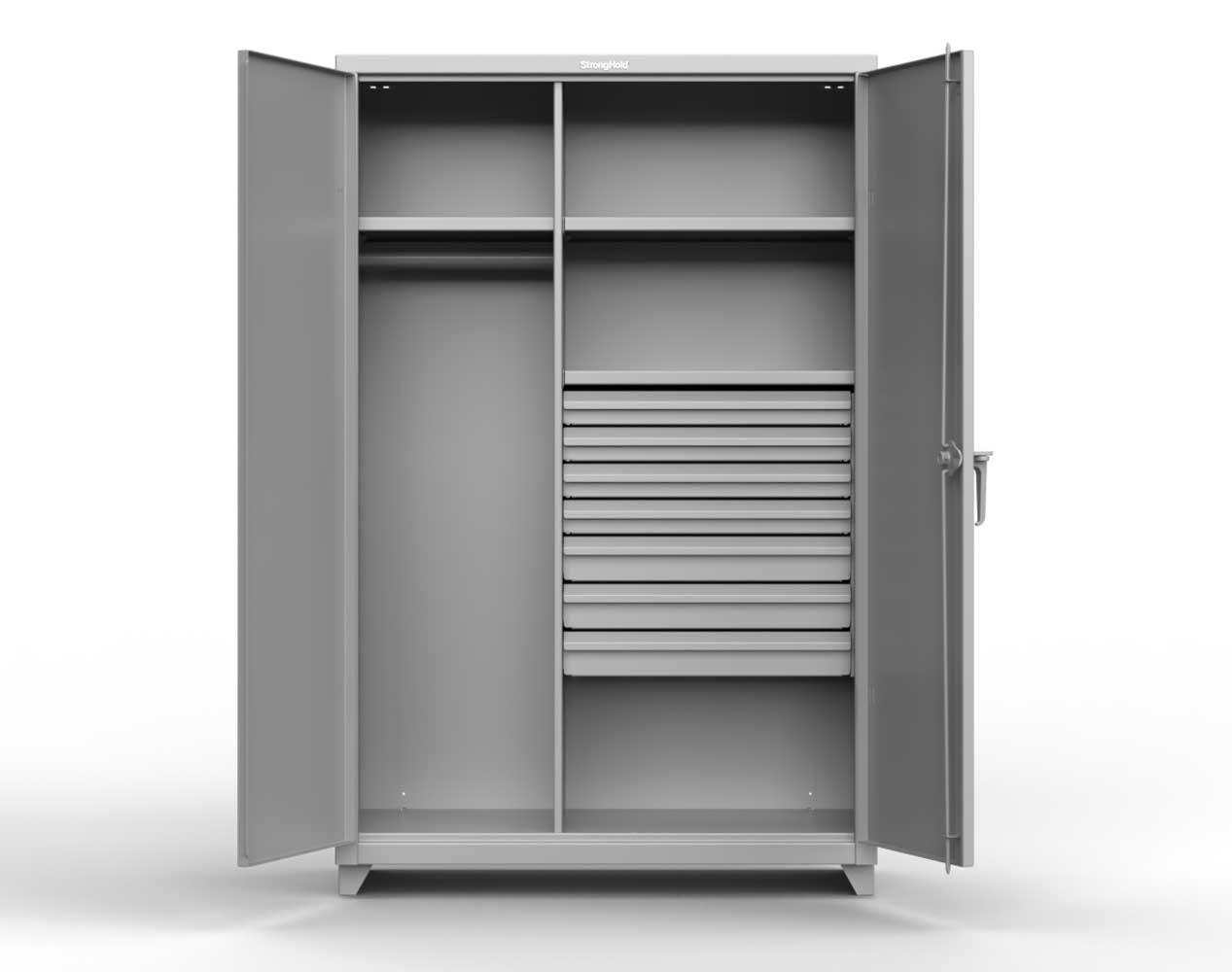 Heavy Duty 14 GA Wardrobe Cabinet with 7 Drawers, 3 Shelves – 36 In. W x 24 In. D x 75 In. H