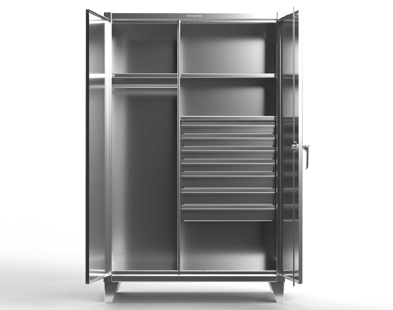 Extra Heavy Duty 12 GA Stainless Steel Wardrobe Cabinet with 7 Drawers, 3 Shelves – 36 In. W x 24 In. D x 78 In. H