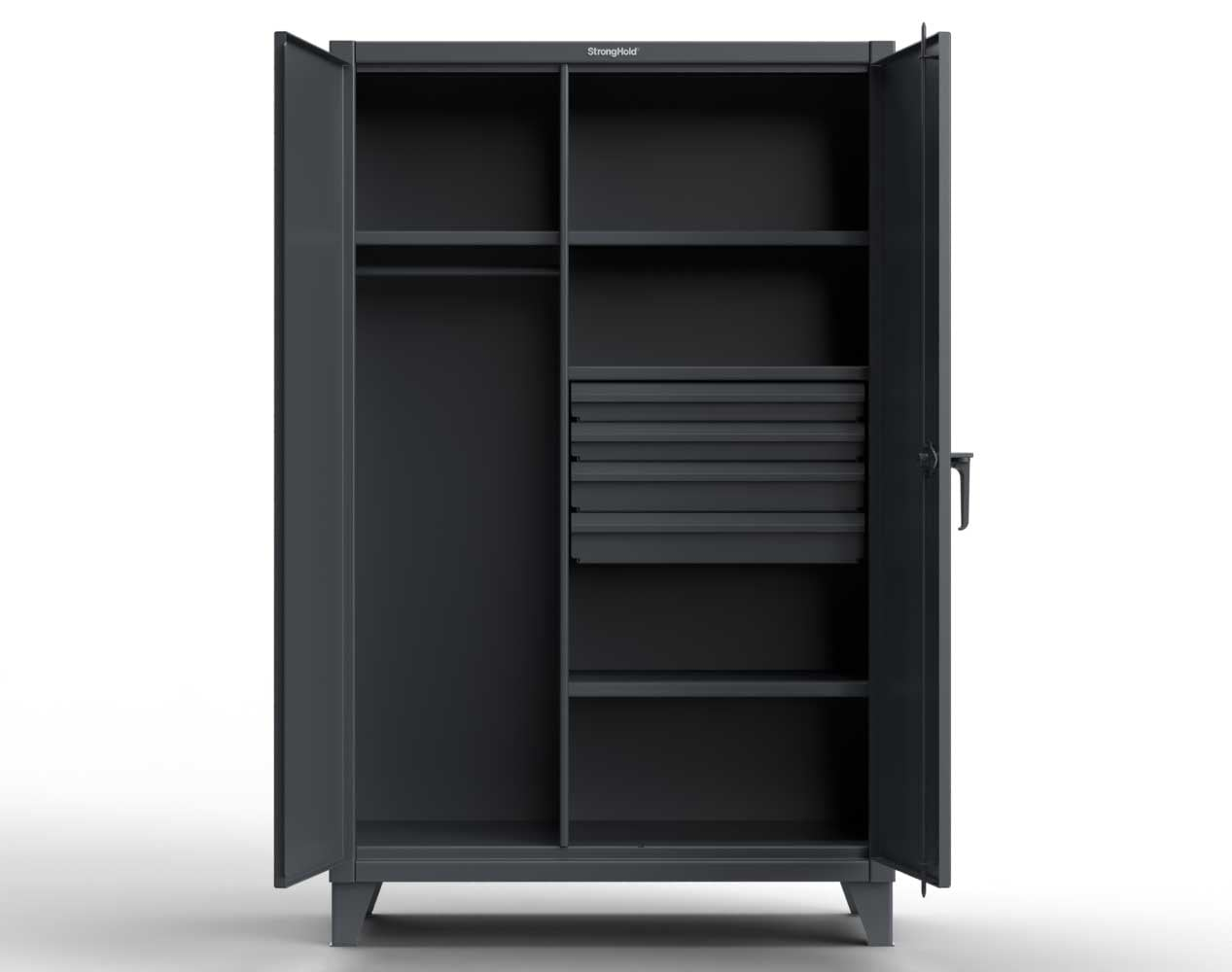 Extra Heavy Duty 12 GA Wardrobe Cabinet with 4 Drawers, 4 Shelves – 48 In. W x 24 In. D x 78 In. H