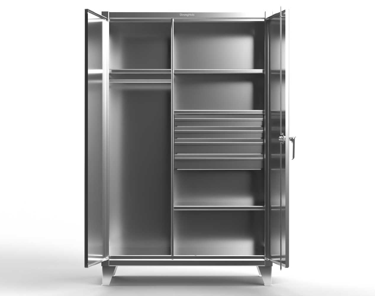 Extra Heavy Duty 12 GA Stainless Steel Wardrobe Cabinet with 4 Drawers, 4 Shelves – 60 In. W x 24 In. D x 78 In. H
