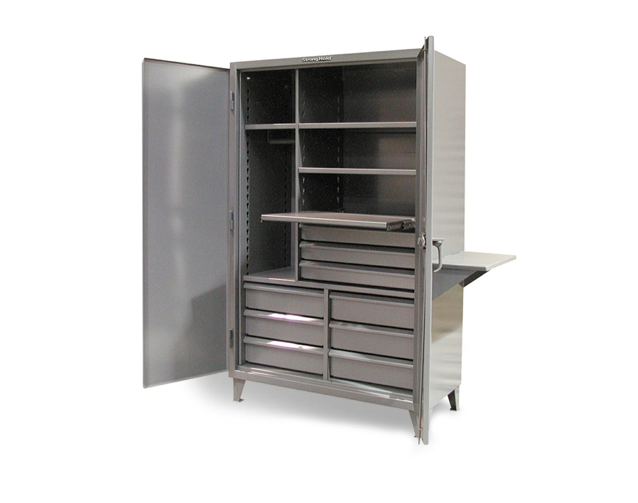 Extreme Duty 12 GA Uniform Cabinet with Slide-Out Shelf, 9 Half-Width Drawers, 4 Shelves, Vice Shelf – 48 In. W x 24 In. D x 78 In. H