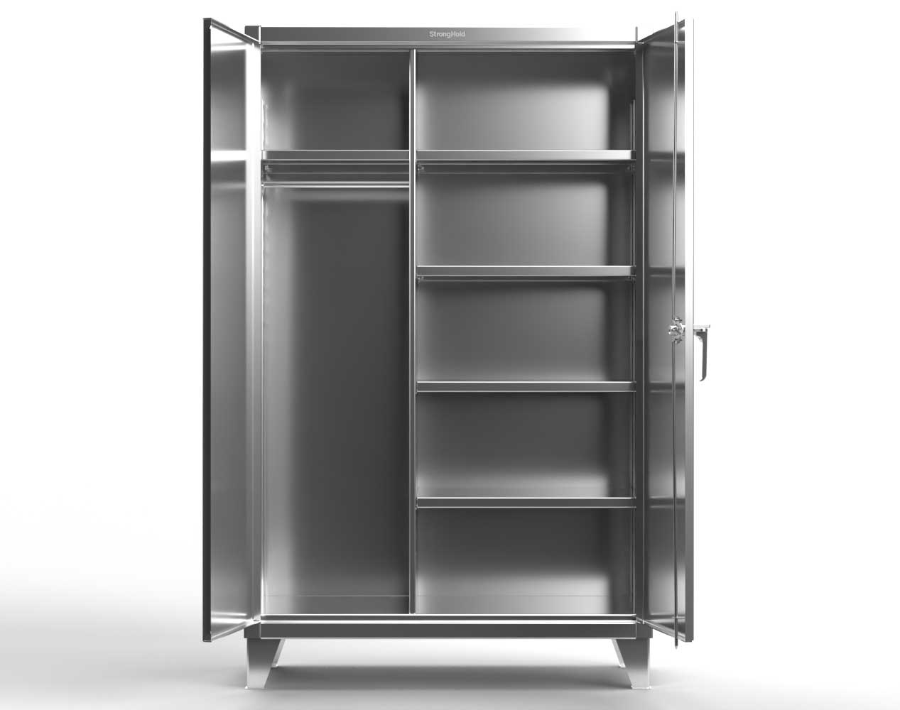 Extra Heavy Duty 12 GA Stainless Steel Wardrobe Cabinet with 5 Shelves – 48 In. W x 24 In. D x 66 In. H