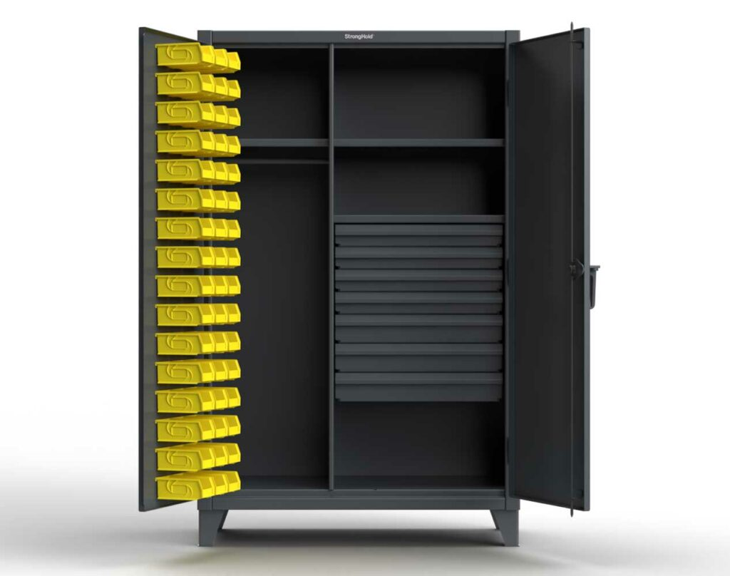 Industrial Uniform Cabinet with Drawers and Bins
