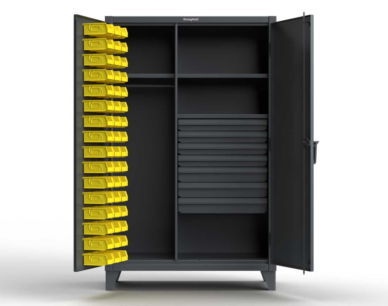 Extra Heavy Duty 12 GA Wardrobe Cabinet with 48 Bins, 7 Drawers, 3 Shelves – 48 In. W x 24 In. D x 78 In. H