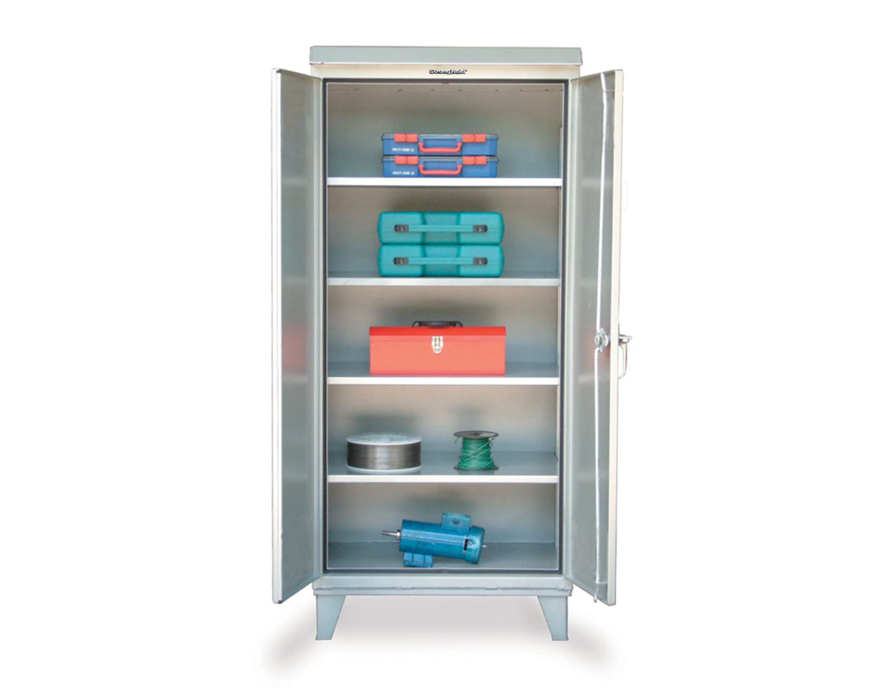 Extra Heavy Duty 12 GA Stainless Steel Weather-Resistant Cabinet with 4 Shelves – 48 In. W x 24 In. D x 78 In. H