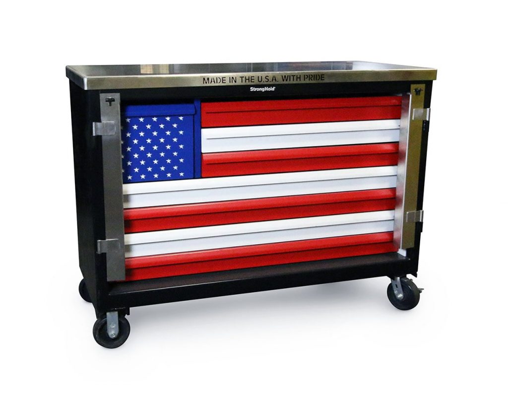 American Flag Tool Cart with Stainless Steel Top