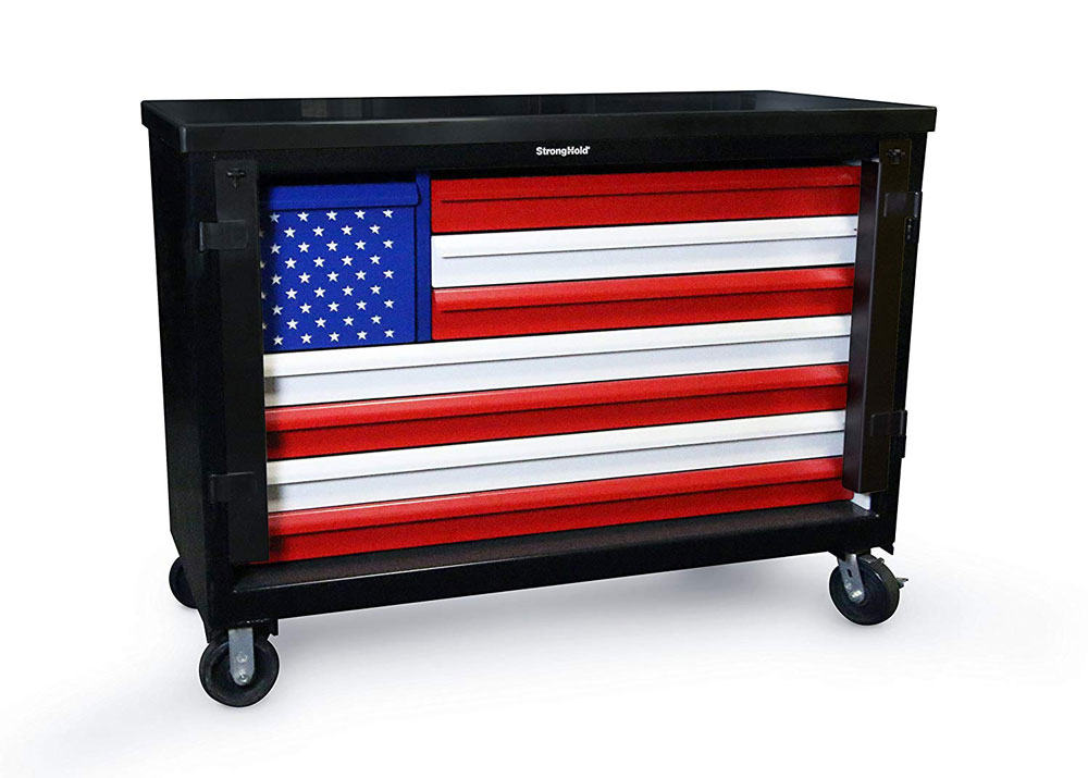 Extreme Duty 12 GA Mobile American Flag Tool Cart with 7 GA Steel Top, 8 Drawers – 60 in. W x 24 in. D x 44 in. H